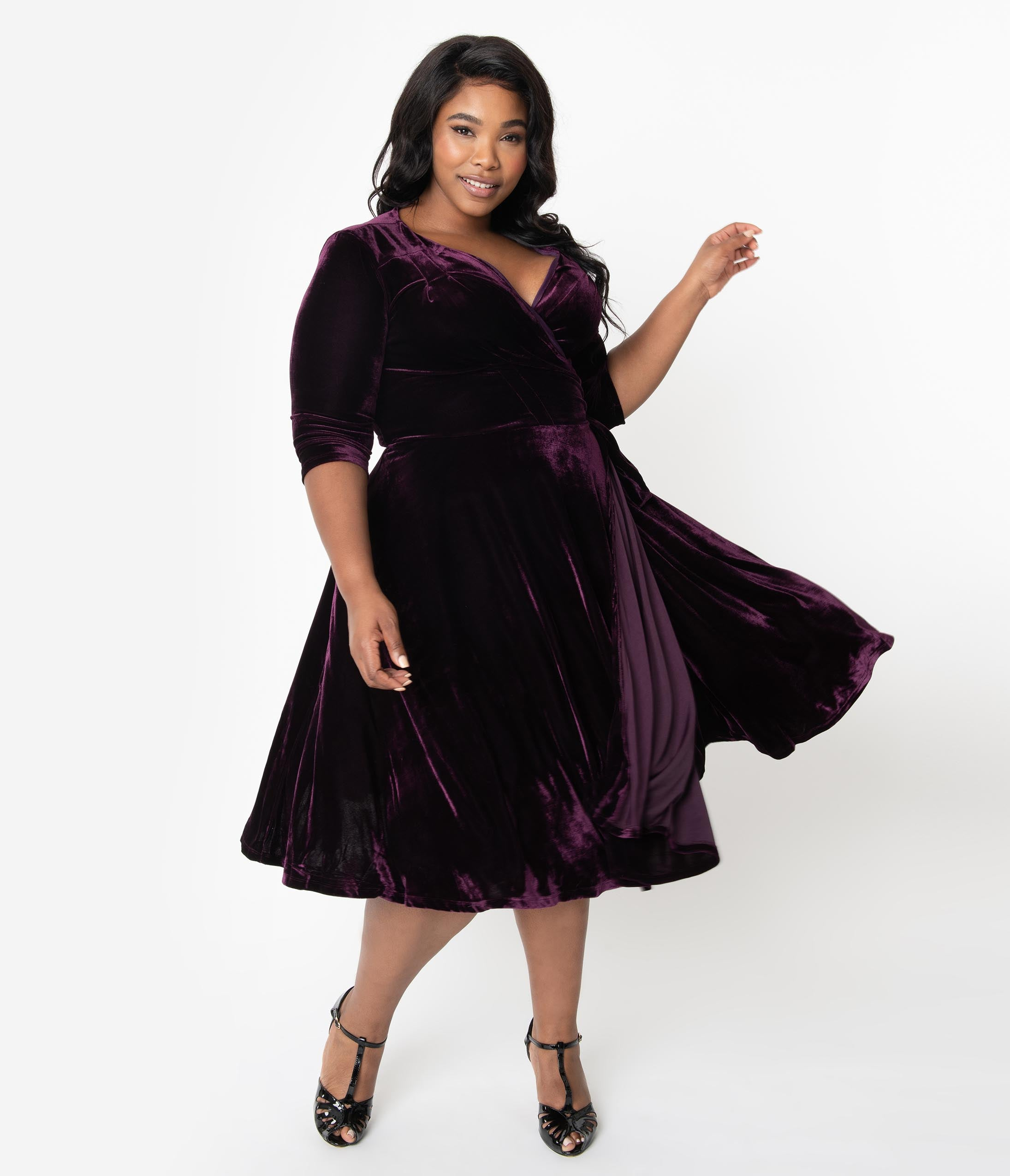 1940s Bridesmaid Dresses, Mother of the Bride Unique Vintage Plus Size 1940S Style Eggplant Purple Velvet Kelsie Wrap Dress $98.00 AT vintagedancer.com