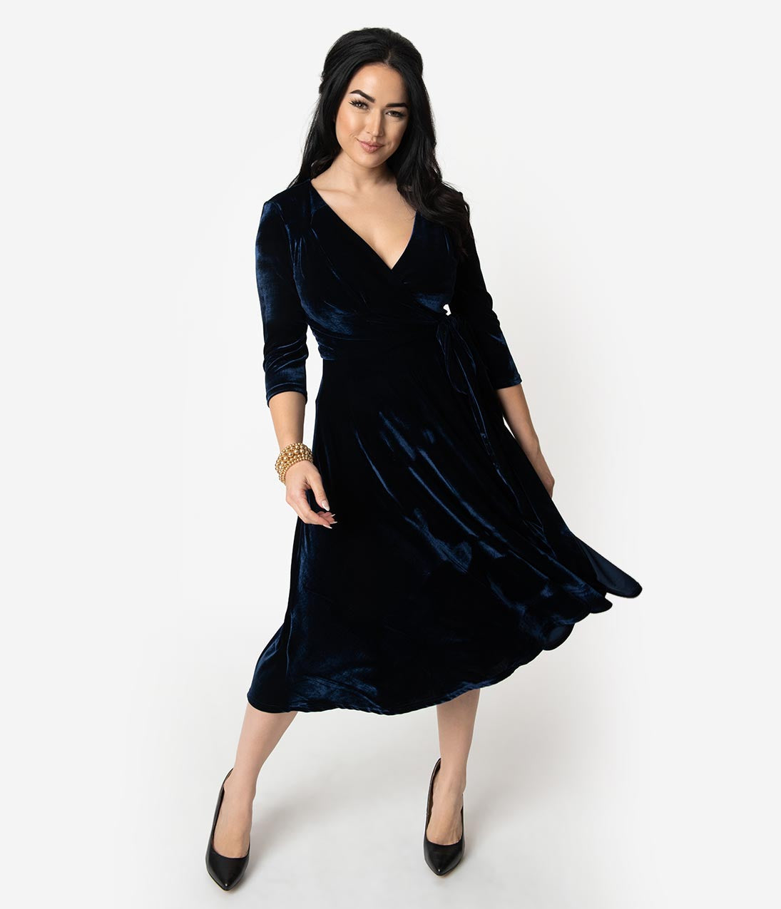 1940s Cocktail Dresses, Party Dresses Unique Vintage 1940S Style Navy Blue Velvet Kelsie Wrap Dress $98.00 AT vintagedancer.com