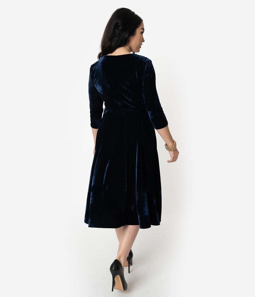 Unique Vintage 1940s Style Navy Blue Velvet Kelsie Wrap Dress