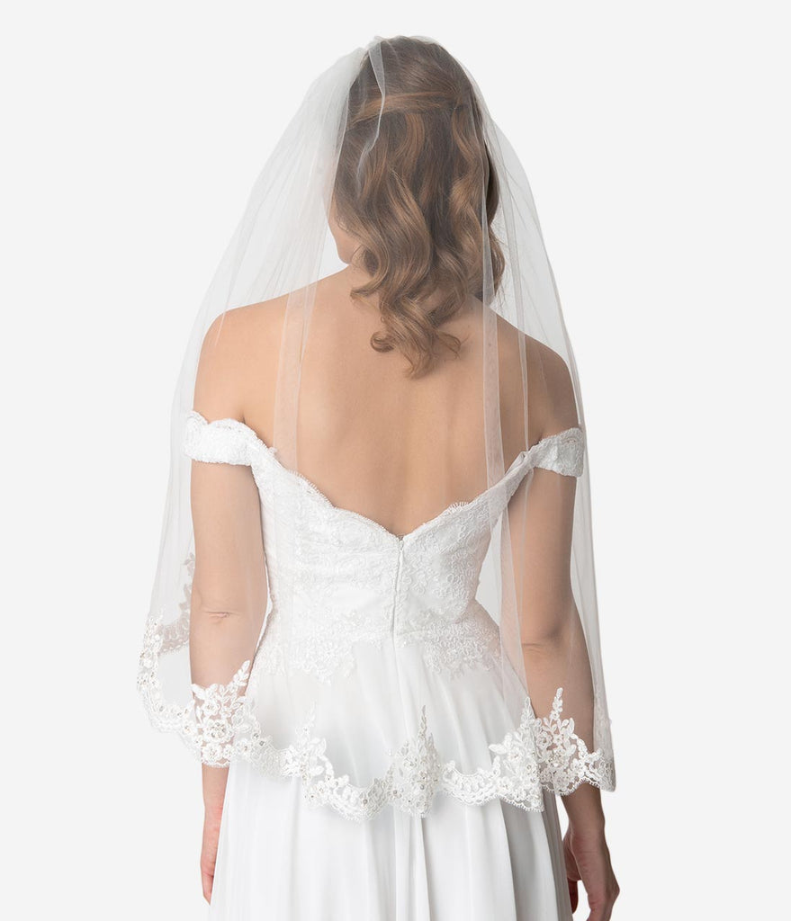 Ivory Mesh Alençon Lace Beaded Edge Bridal Veil