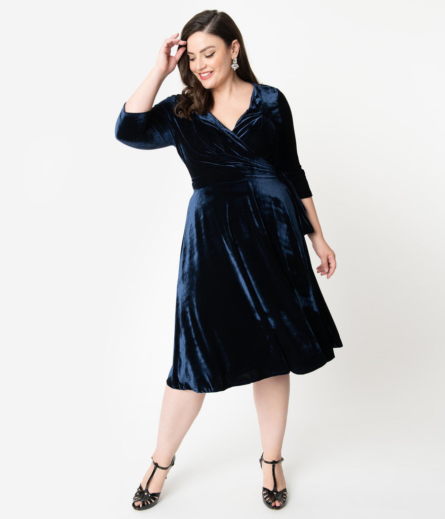 Unique Vintage Plus Size 1940s Style Navy Blue Velvet Kelsie Wrap Dress