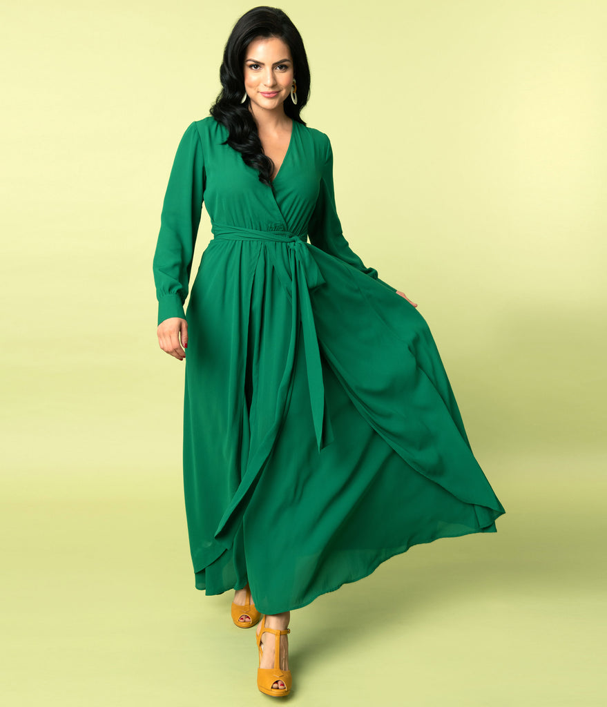 Unique Vintage Emerald Green Long Sleeve Farrah Maxi Dress