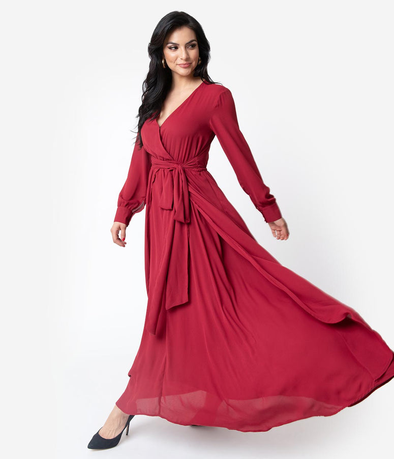 Unique Vintage Burgundy Red Long Sleeve Farrah Maxi Dress