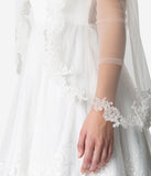 Ivory Mesh Rolled Edge Alençon Lace Long Bridal Veil