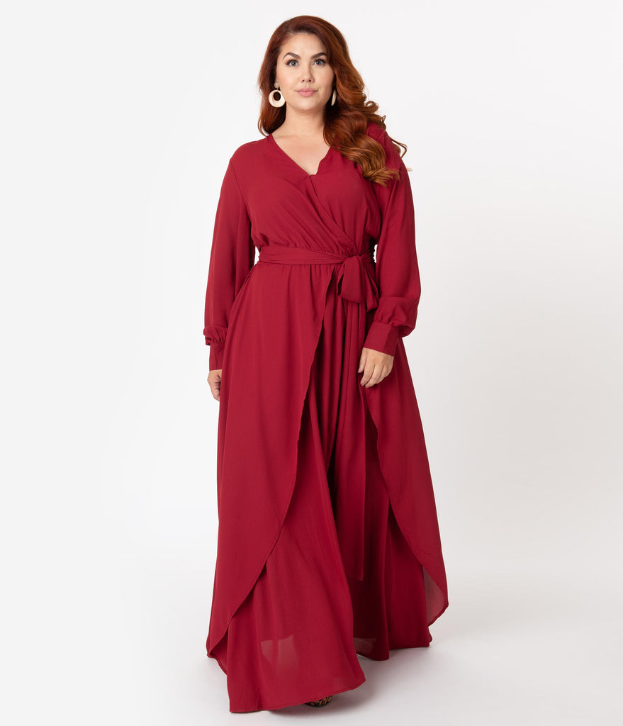 Unique Vintage Plus Size Burgundy Red Long Sleeve Farrah Maxi Dress