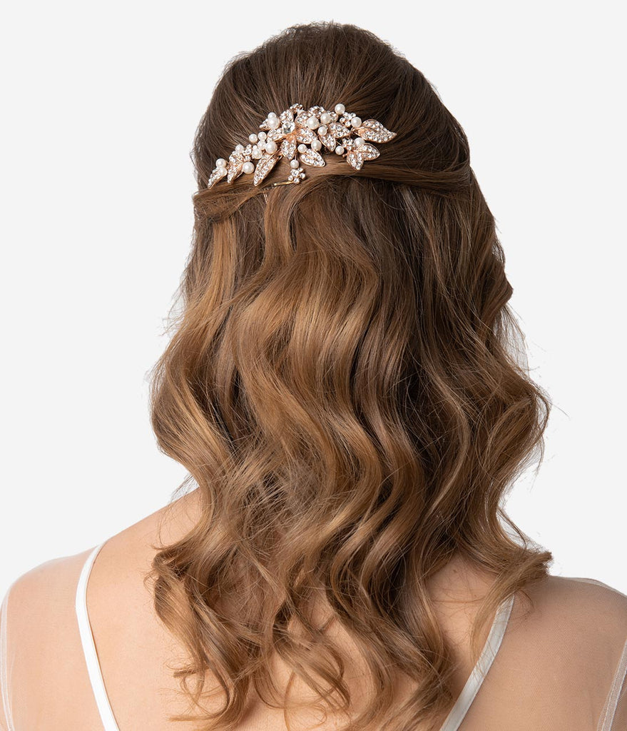 Rose Gold & Ivory Pearl Rhinestone Flower Hair Comb