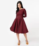 Unique Vintage 1950s Style Wine Red Stretch Sleeved Devon Swing Dress