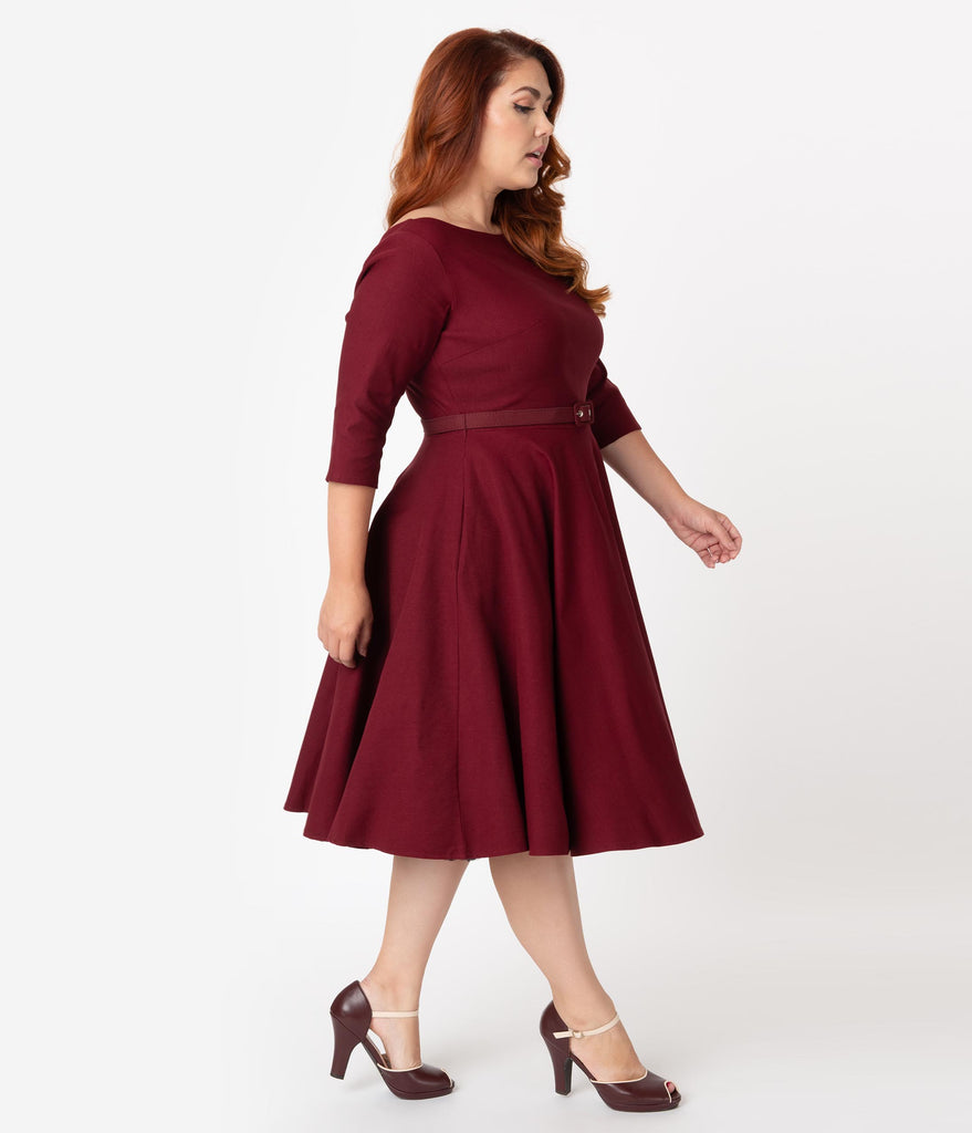 Unique Vintage Plus Size 1950s Style Wine Red Stretch Sleeved Devon Swing Dress