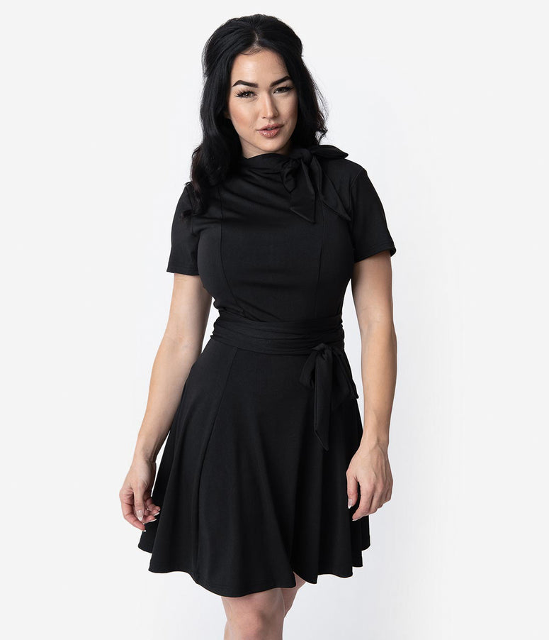 Unique Vintage 1960s Style Black Knit Waist Tie Bancroft Flare Dress