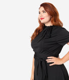 Unique Vintage Plus Size 1960s Style Black Knit Waist Tie Bancroft Flare Dress