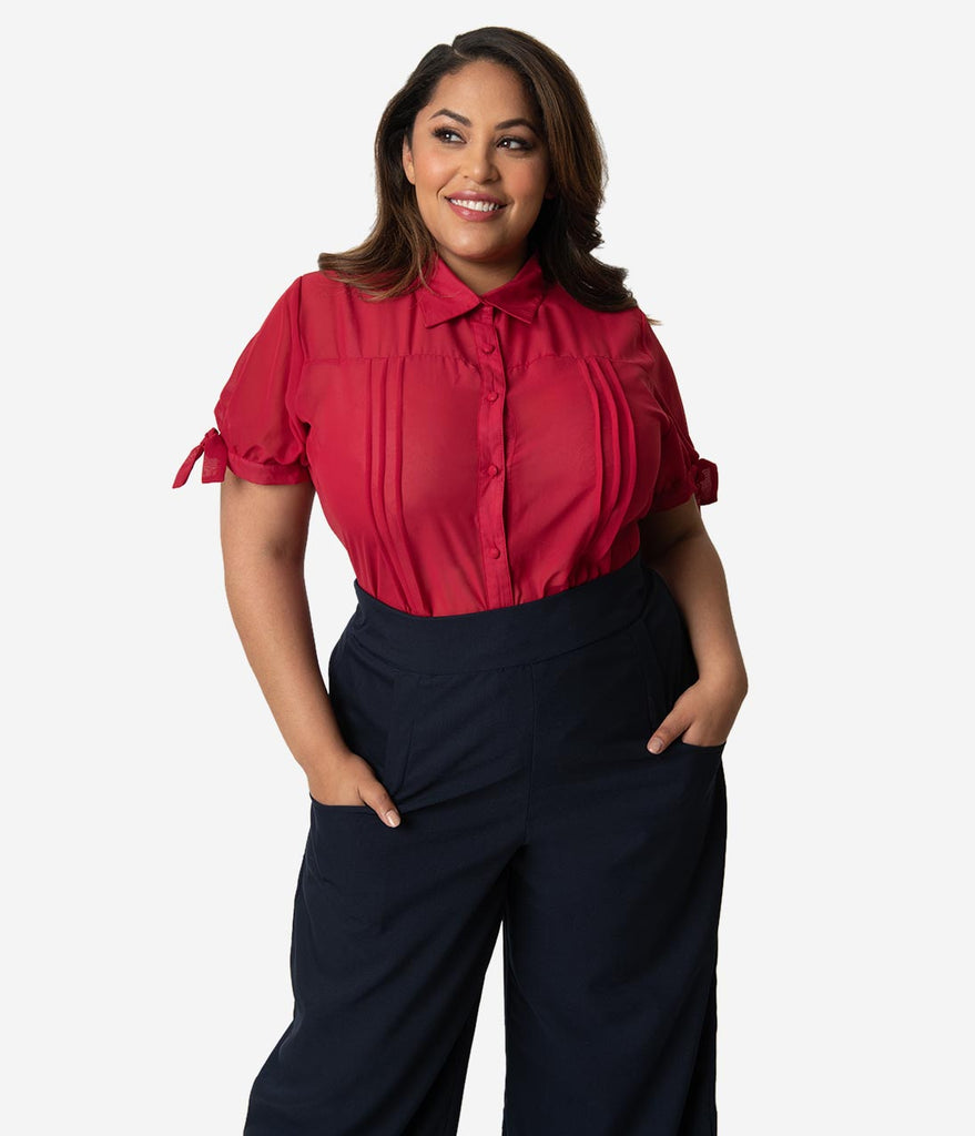 Unique Vintage Plus Size Burgundy Chiffon Button Up Short Sleeve Colvin Blouse