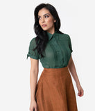 Unique Vintage Emerald Chiffon Button Up Short Sleeve Colvin Blouse