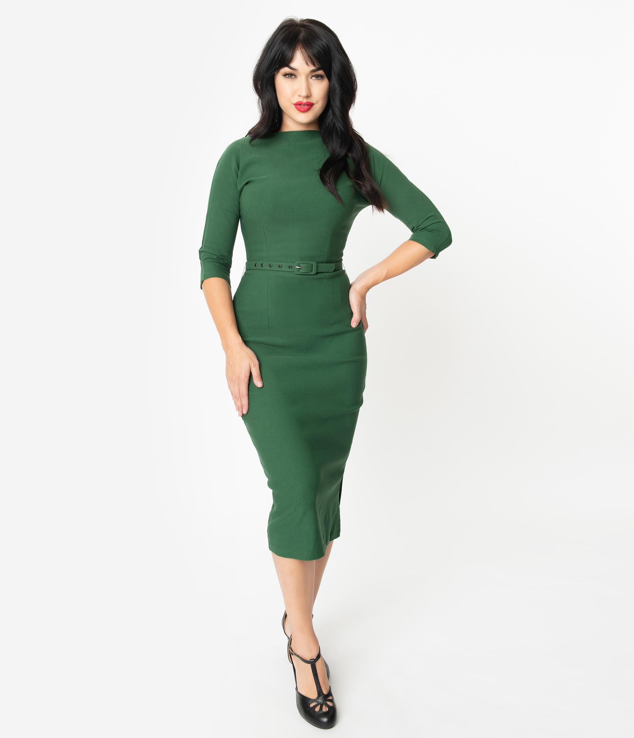 Vintage Style Gift Ideas for Christmas Unique Vintage 1940S Style Green Stretch Sleeved Adelia Wiggle Dress $98.00 AT vintagedancer.com