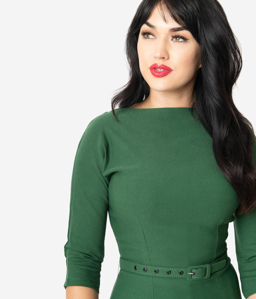 Unique Vintage 1940s Style Green Stretch Sleeved Adelia Wiggle Dress