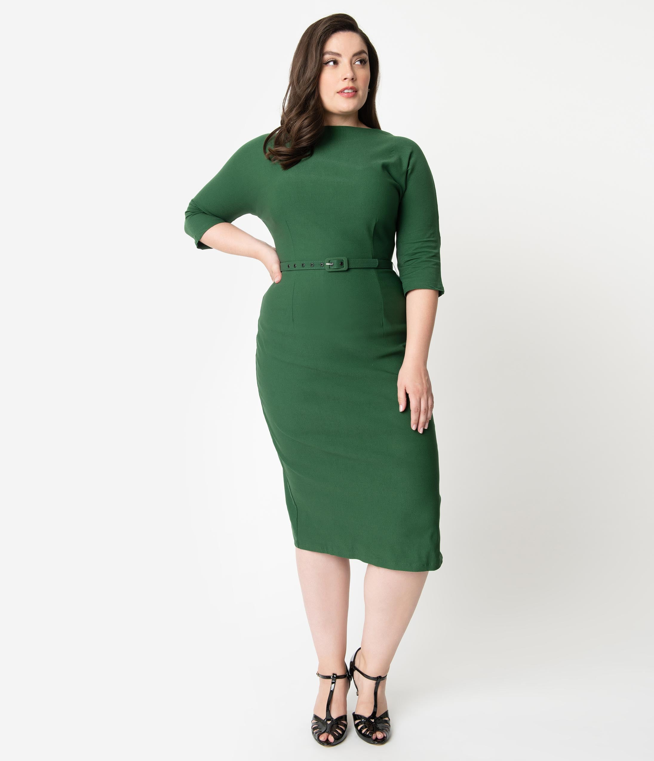 60s 70s Plus Size Dresses, Clothing, Costumes Unique Vintage Plus Size 1940S Style Green Stretch Sleeved Adelia Wiggle Dress $98.00 AT vintagedancer.com