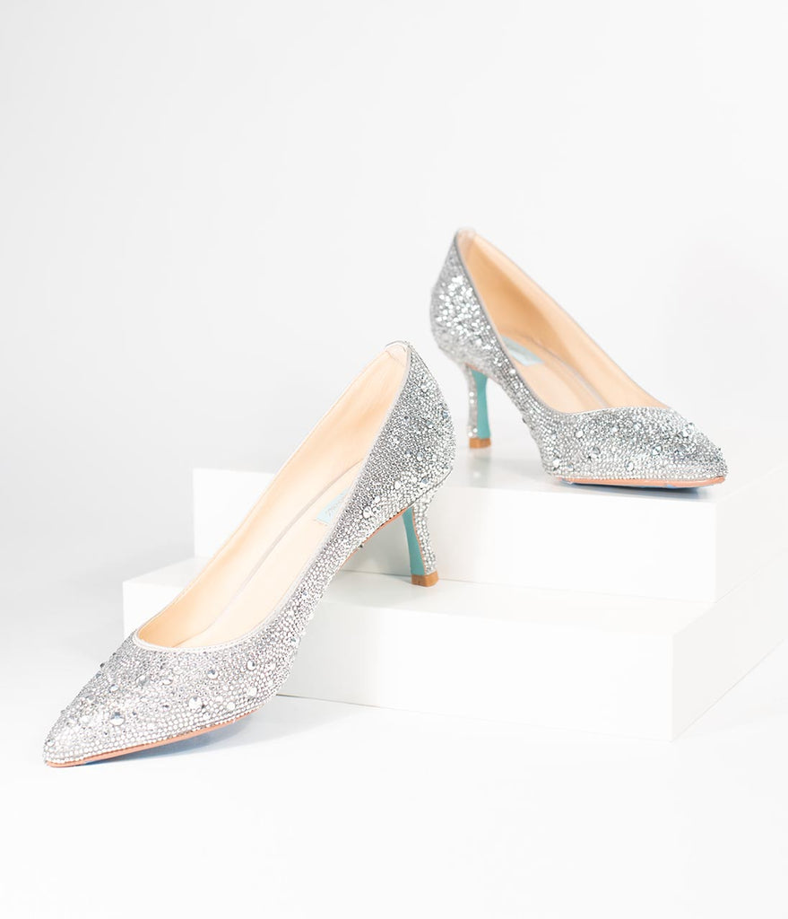 76bd42e2183 Betsey Johnson Silver Crystal Pointed Toe Kitten Heels – Unique Vintage
