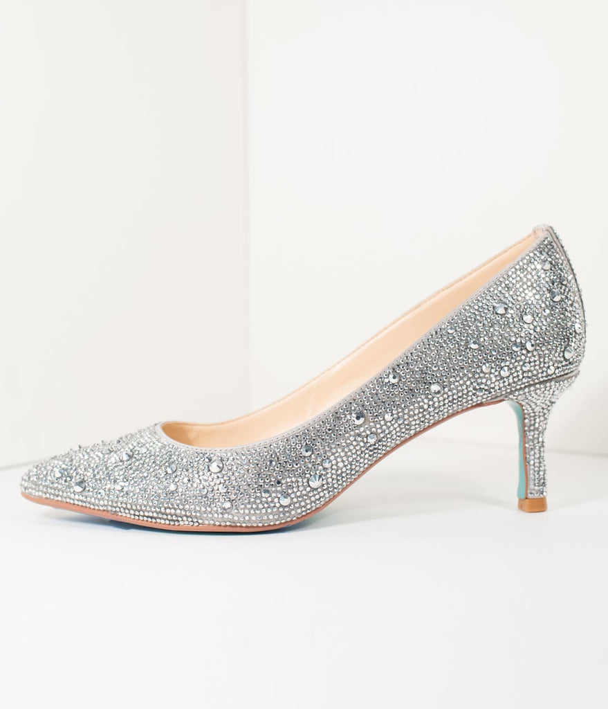 f2782b2f9d41c Betsey Johnson Silver Crystal Pointed Toe Kitten Heels – Unique Vintage