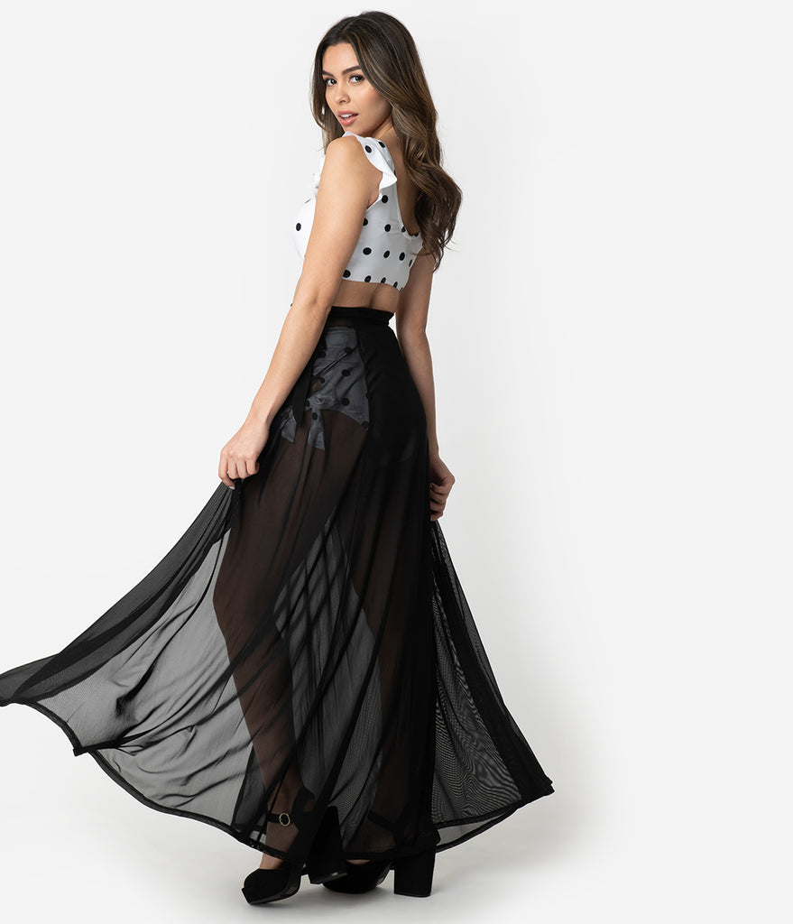 Black Mesh Wrap Long Skirt Swim Coverup