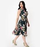 Unique Vintage 1940s Hunter Green & Pink Floral Olson Swing Dress