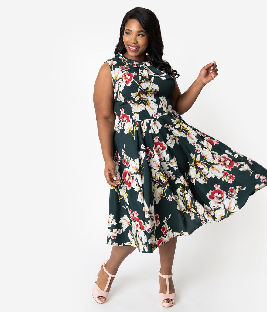 Unique Vintage Plus Size 1940s Hunter Green & Pink Floral Olson Swing Dress
