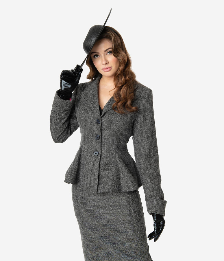Micheline Pitt For Unique Vintage Grey Tweed Rachael Suit Jacket