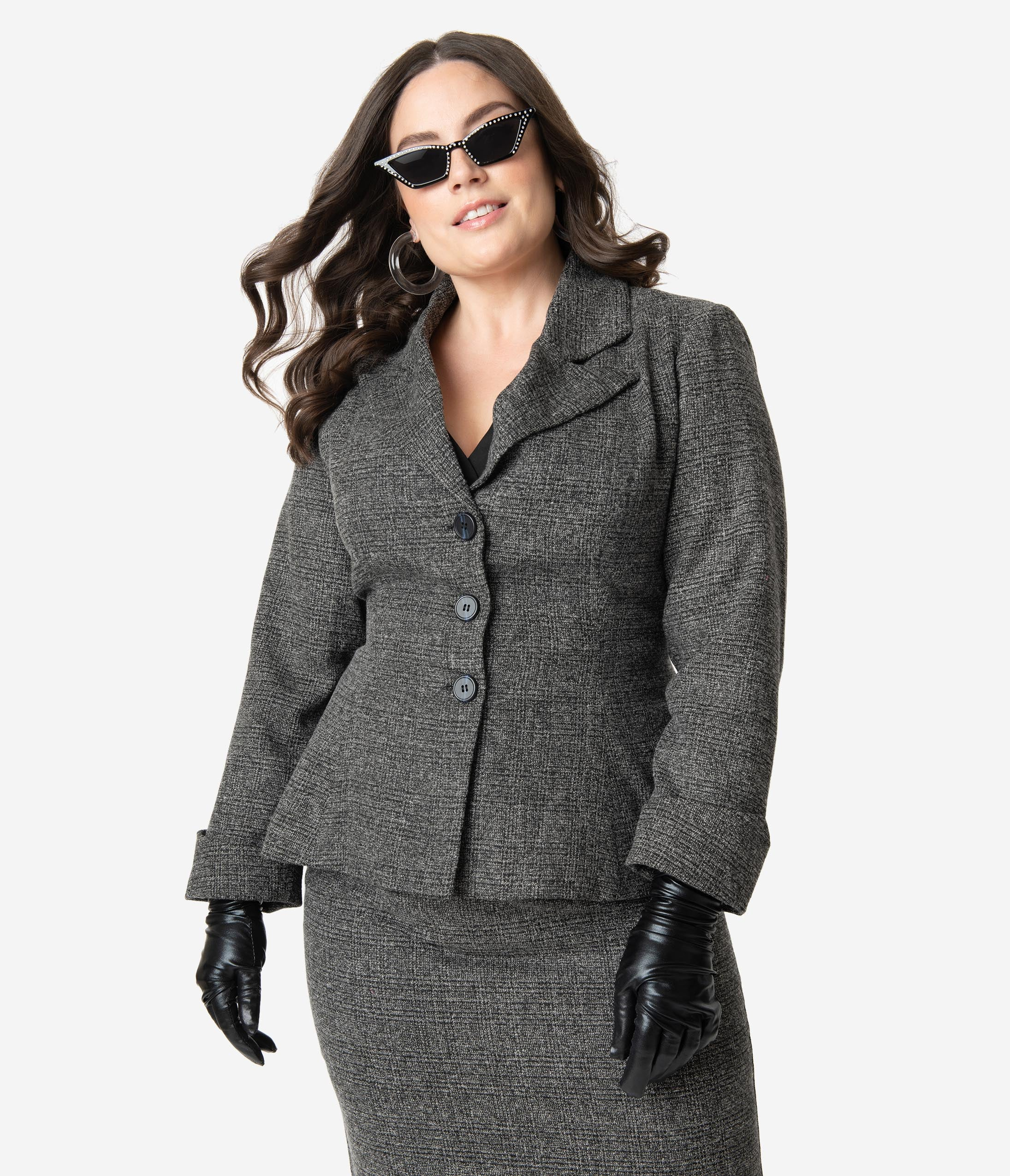 Vintage Coats & Jackets | Retro Coats and Jackets Micheline Pitt For Unique Vintage Plus Size Grey Tweed Rachael Suit Jacket $118.00 AT vintagedancer.com