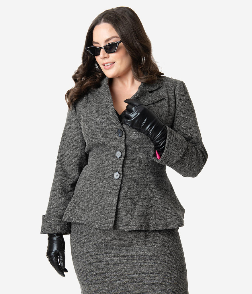 Micheline Pitt For Unique Vintage Plus Size Grey Tweed Rachael Suit Jacket