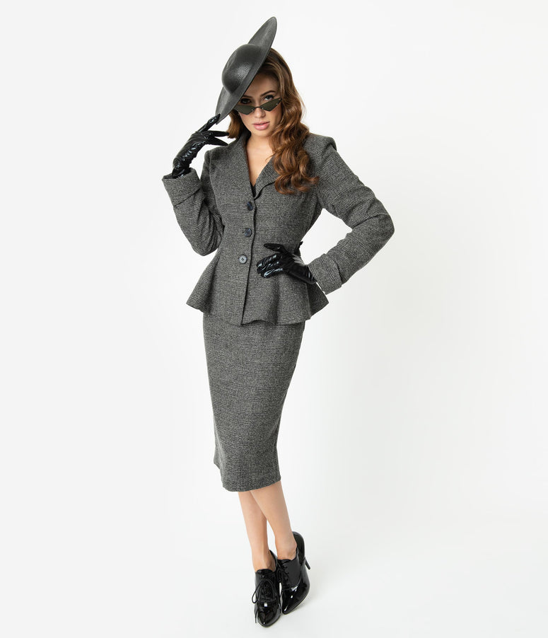 Micheline Pitt For Unique Vintage Grey Tweed Rachael Suit Wiggle Skirt