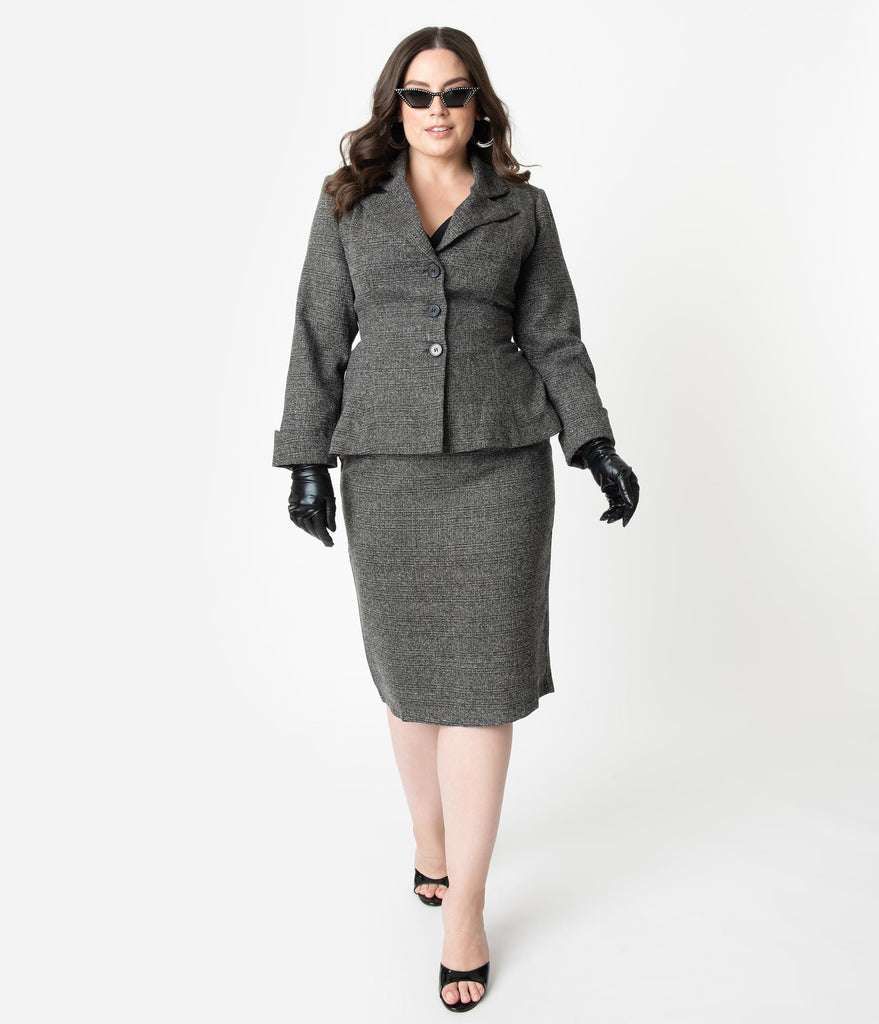 Micheline Pitt For Unique Vintage Plus Size Grey Tweed Rachael Suit Wiggle Skirt
