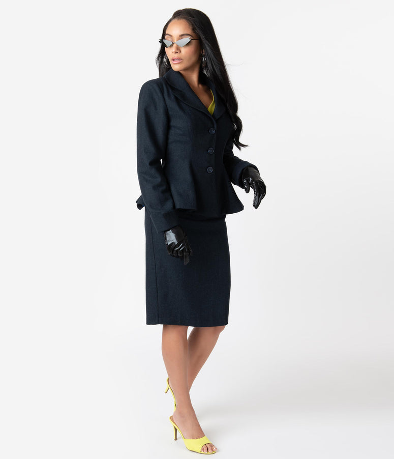 Micheline Pitt For Unique Vintage Navy Tweed Rachael Suit Wiggle Skirt