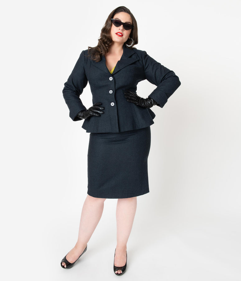 Micheline Pitt For Unique Vintage Plus Size Navy Tweed Rachael Suit Wiggle Skirt