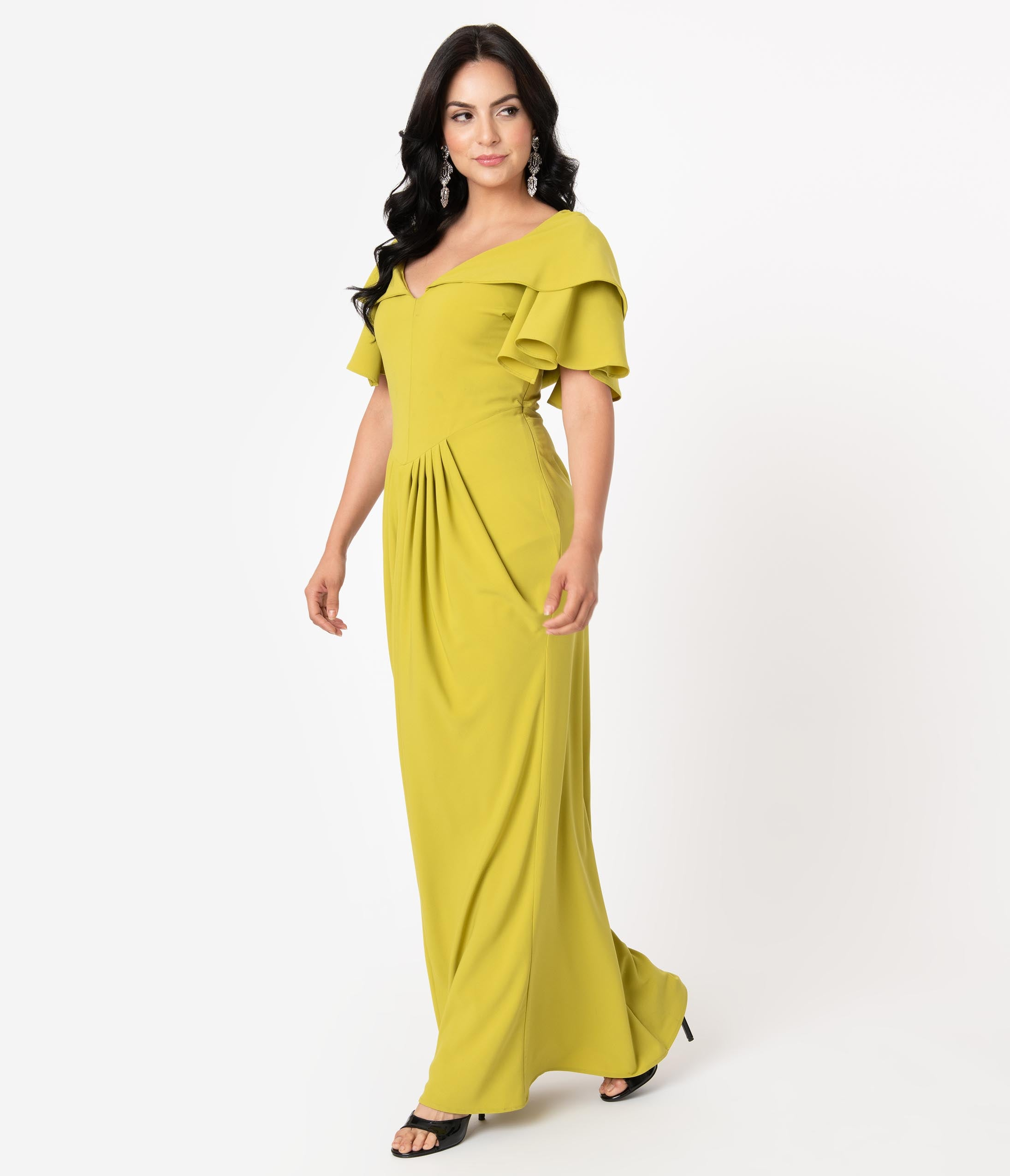 1940s Plus Size Dresses | Swing Dress, Tea Dress Micheline Pitt For Unique Vintage 1940S Style Chartreuse Zhora Hooded Gown $148.00 AT vintagedancer.com
