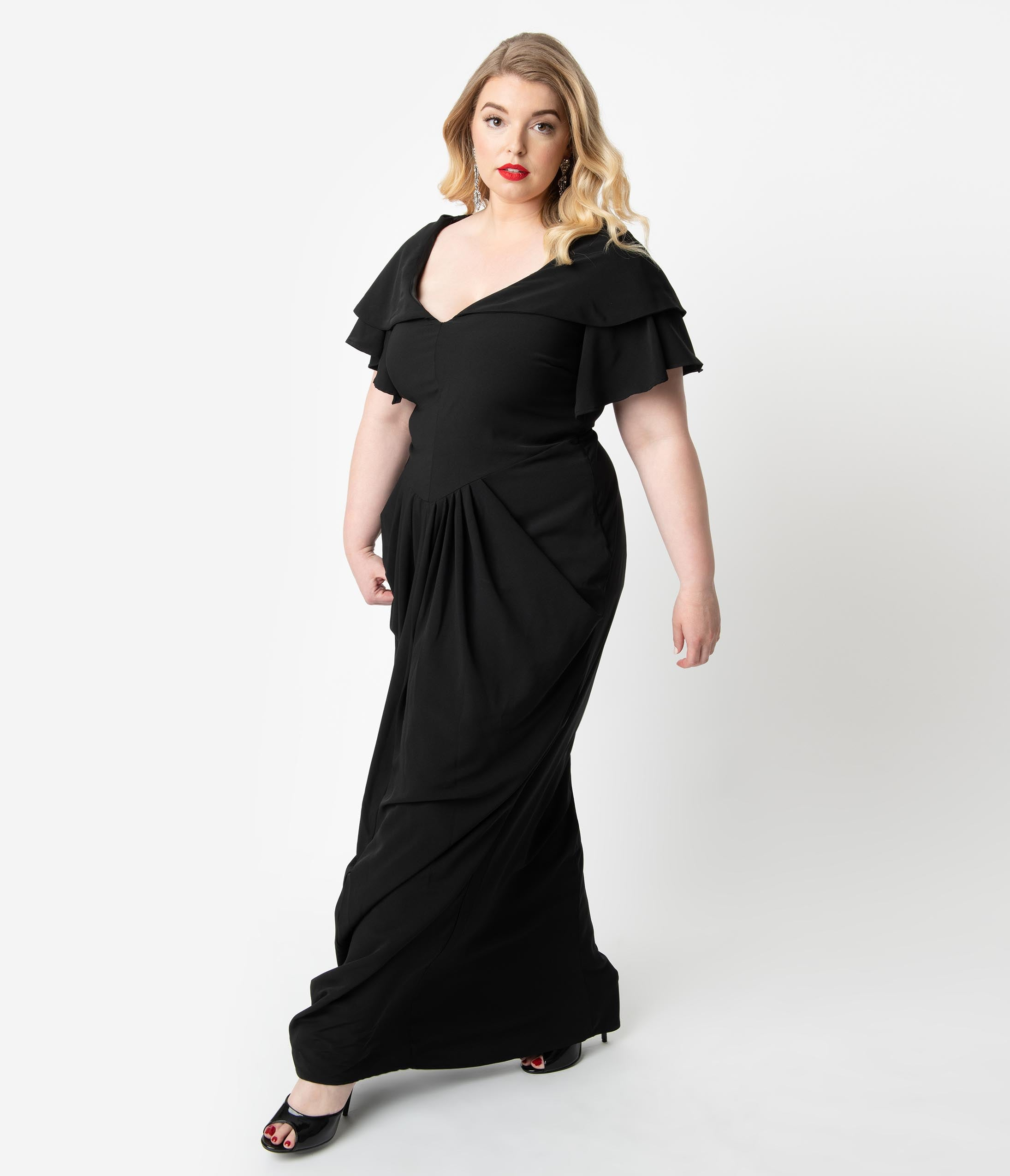 1940s Plus Size Dresses | Swing Dress, Tea Dress Micheline Pitt For Unique Vintage Plus Size 1940S Style Black Zhora Hooded Gown $148.00 AT vintagedancer.com