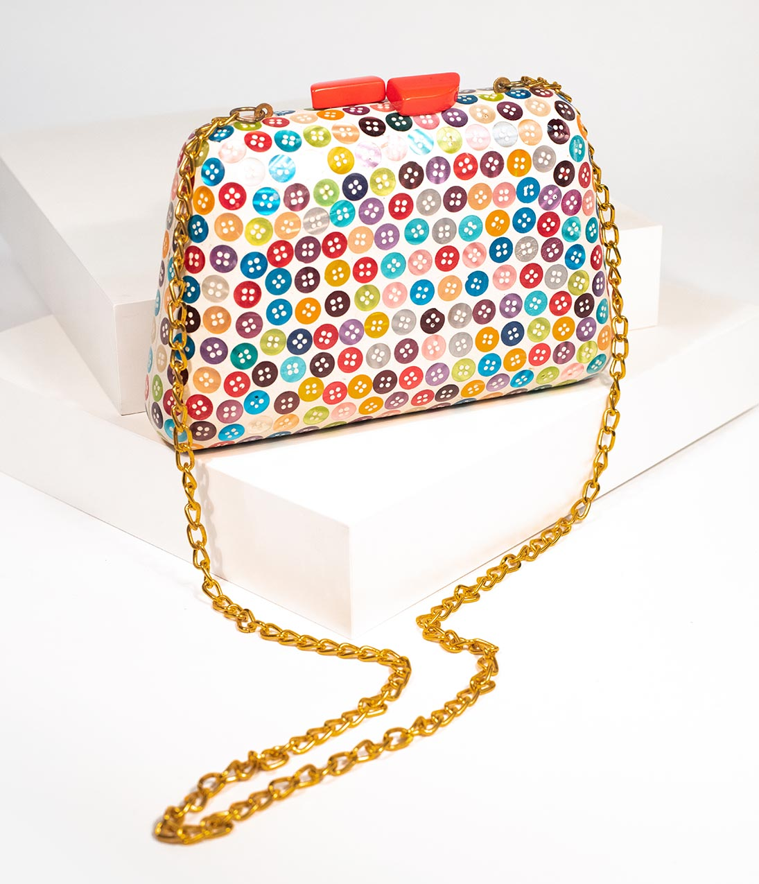 1950s Handbags, Purses, and Evening Bag Styles Vintage Style Multicolor Button Hard Wooden Clutch $72.00 AT vintagedancer.com