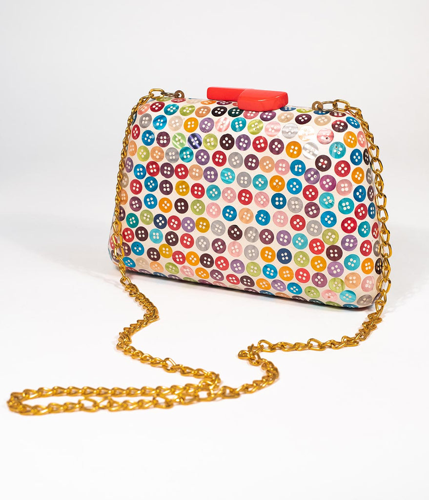 Vintage Style Multicolor Button Hard Wooden Clutch