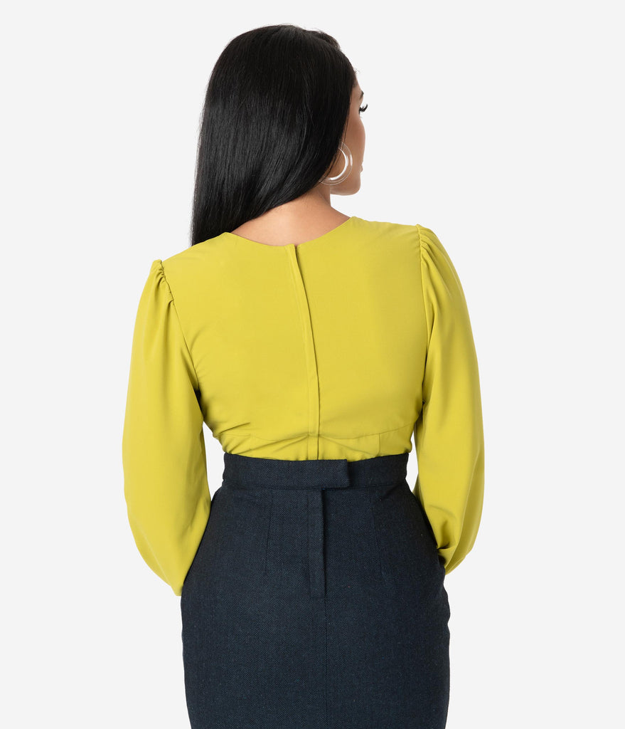 Micheline Pitt For Unique Vintage Chartreuse Long Sleeve Tyrell Blouse