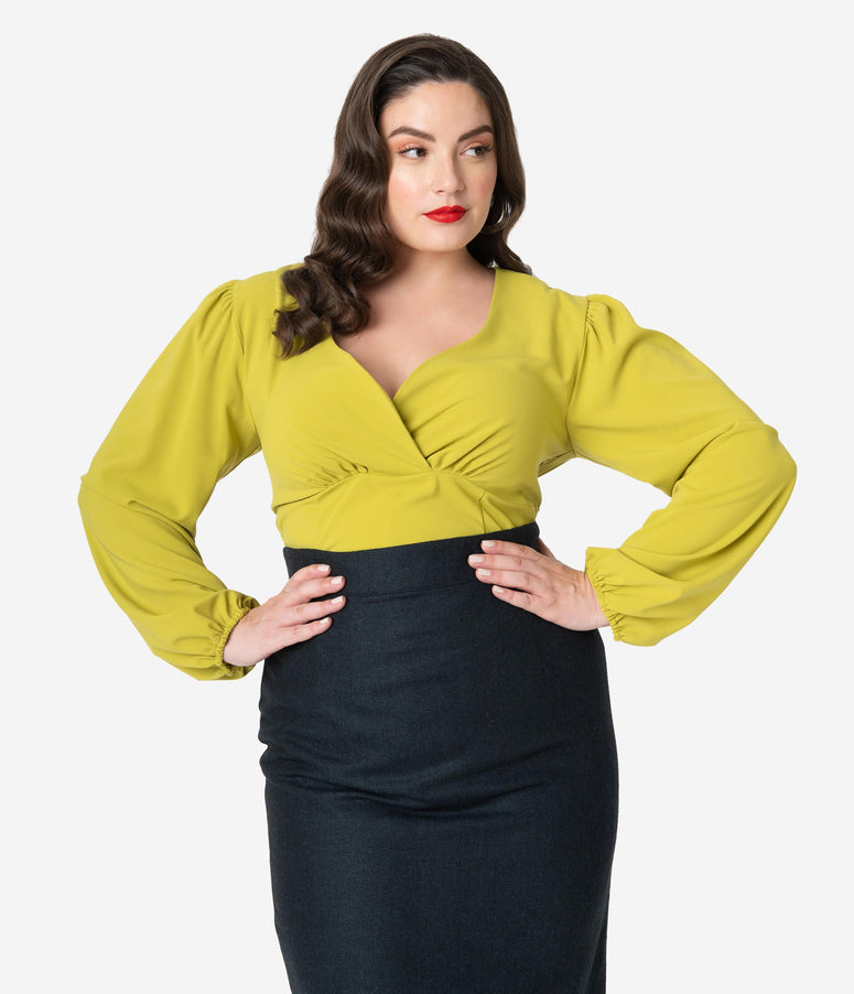 Micheline Pitt For Unique Vintage Plus Size Chartreuse Long Sleeve Tyrell Blouse