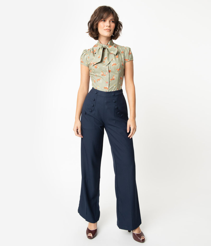 1940s Navy High Waist Crepe Full Moon Sailor Pants