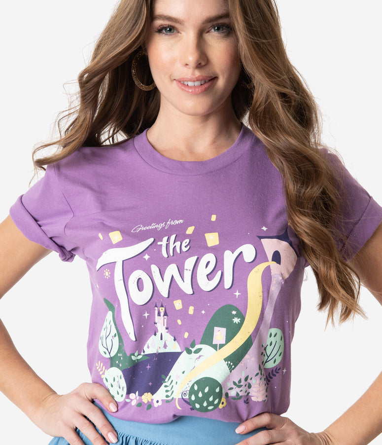 The Lost Bros Purple Greetings From The Tower Unisex Tee