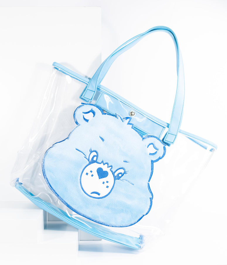 Care Bears x Unique Vintage Light Blue Plush Grumpy Bear Vinyl Tote