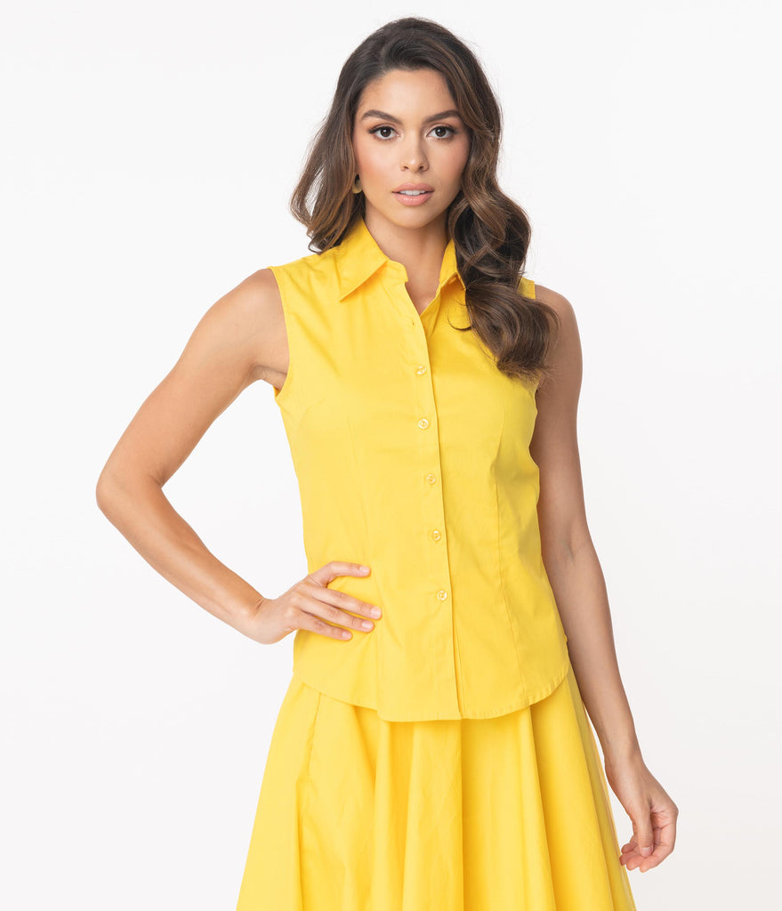 Yellow Sleeveless Collared Cotton Button Up Blouse