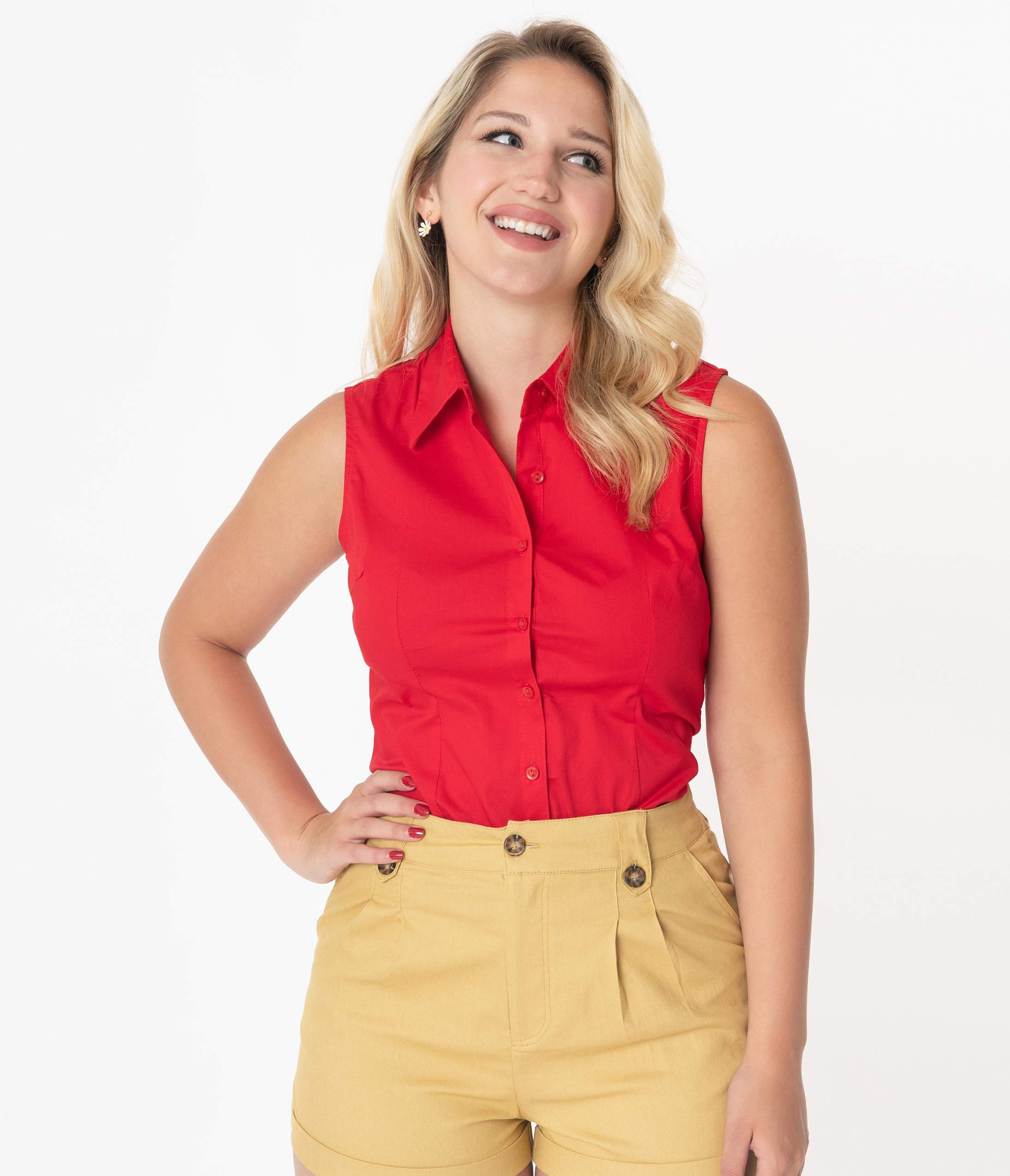 1950s Rockabilly & Pin Up Tops, Blouses, Shirts Retro Red Sleeveless Collared Cotton Button Up Blouse $36.00 AT vintagedancer.com