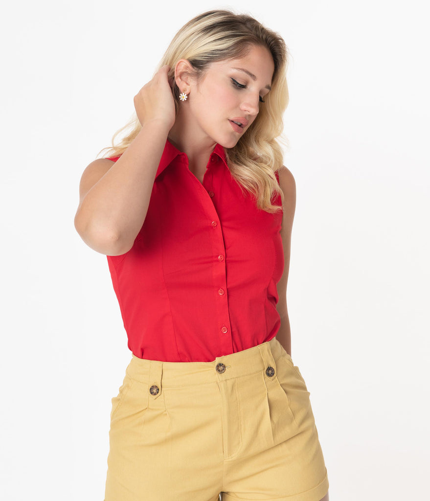 Retro Red Sleeveless Collared Cotton Button Up Blouse