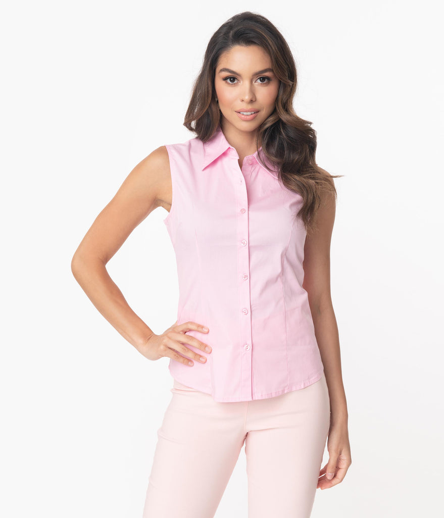 Light Pink Sleeveless Collared Cotton Button Up Blouse