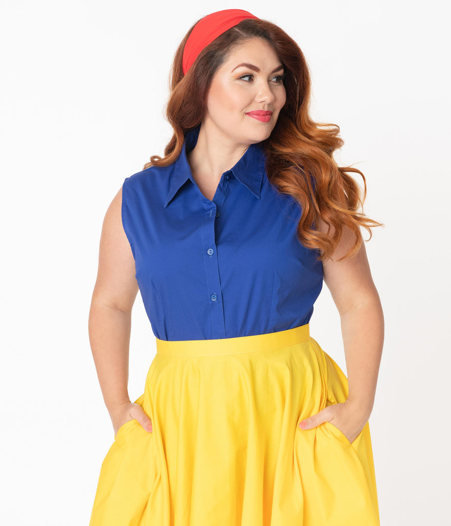 Plus Size Royal Blue Sleeveless Collared Cotton Button Up Blouse