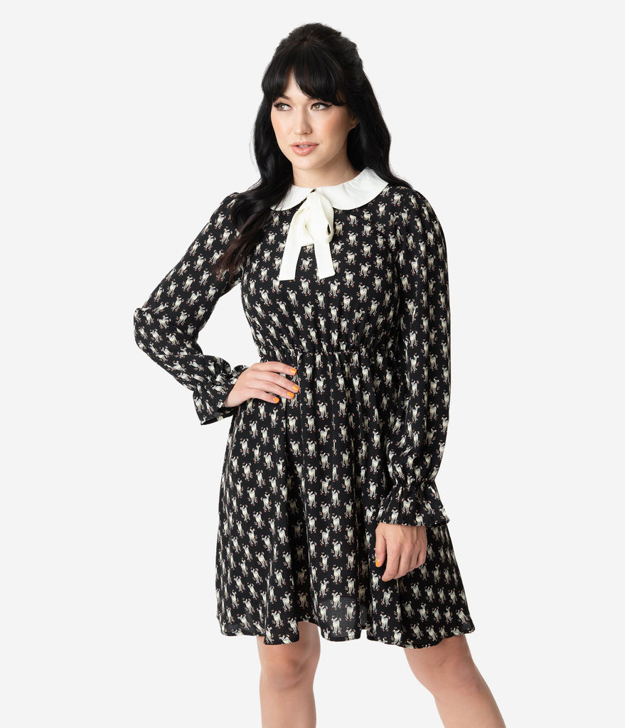 Smak Parlour Black & Ivory Deer Print Neck Tie Fit & Flare Dress