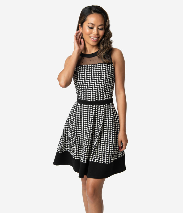 Smak Parlour Black & White Houndstooth Swiss Dot Mesh Fit & Flare Dress