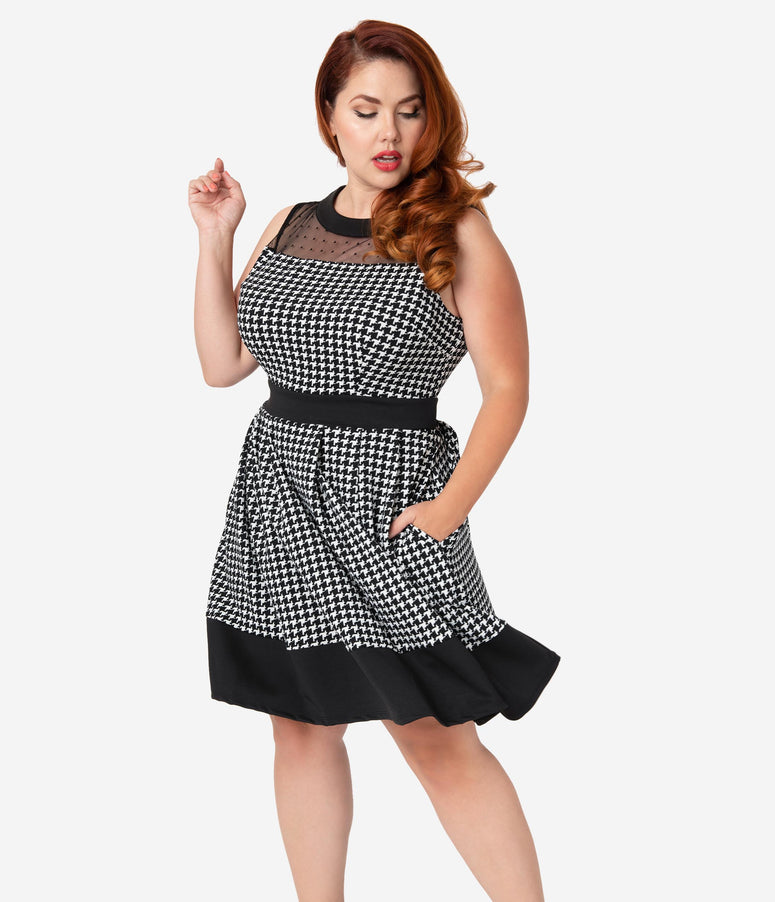 Smak Parlour Plus Size Black & White Houndstooth Swiss Dot Mesh Fit & Flare Dress