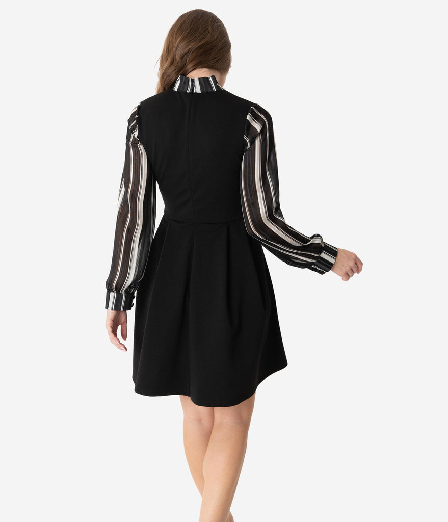 Smak Parlour Black & Ivory Stripe Chiffon Sleeve She.E.O. Fit & Flare Dress
