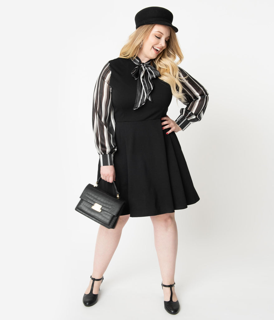 Smak Parlour Plus Size Black & Ivory Stripe Chiffon Sleeve She.E.O. Fit & Flare Dress
